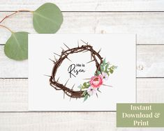 Printable Religious Easter Card, Religious Easter Card Printable, Easter Card Religious, He Is Risen, Easter Card Printable, Digital Printable Cards, Printables, Easter Religious, Birthday Cards For Boys, Crown Of Thorns, He Is Risen, Easter Celebration, Hand Illustration, Watercolor And Ink