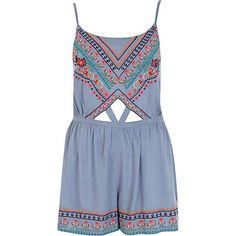 Blue embroidered cut out playsuit £25.00 brought this today! looking forward to wearing it :D