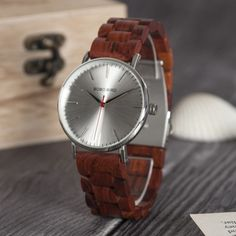 Ebony RedWood Wooden Band Watches for Men Wooden Case, Wooden Watch, Bracelet Clasps, Special Gifts, Omega Watch, Watches For Men, Quartz, Stainless Steel