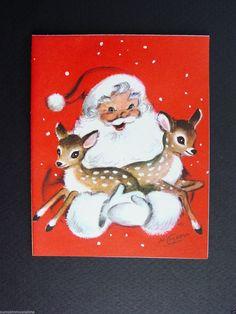 Vintage Marjorie M. Cooper Santa & Deer Christmas Greeting Card ~ Adorable | eBay