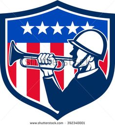 Illustration of an american soldier bugler doing a reveille viewed from the side with usa flag stars and stripes in the background set inside shield crest done in retro style.  - stock vector #independenceday #retro #illustration