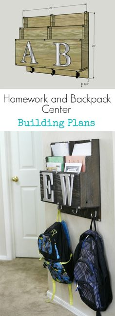 and Backpack Center Building Plans Sick of backpacks on the floor? Learn how to build a DIY Homework and Backpack center.Sick of backpacks on the floor? Learn how to build a DIY Homework and Backpack center. Diy Organization, Homework Organization, Building Plans, Getting Organized, Home Projects, Planer, Diy Furniture, Woodworking Projects, Diy Home Decor