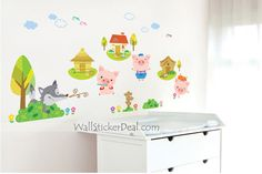 Pig Paradise And Fox Animal Wall Sticker Kids Wall Decals, Wall Stickers, Pet Fox, Cherry Blossom Tree, Toy Chest, Storage Chest, Fox Animal, Birds, Tree Wall