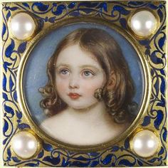 On May 24, 1845, Prince Albert presented his beloved wife, Queen Victoria with a gold, enamel and pearl bracelet created from miniature portraits of their children. This particular link depicts Victoria, the Princess Royal, the first of the couple's children. The portrait is the work of William Essex.