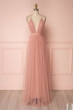 Deep v-neck evening dress blush pink floor length tulle wedding dress spaghetti straps - hairdresserhairstyles.club - Deep v-neck evening dress blush pink floor length tulle wedding dress spaghetti straps - Pink Party Dresses, Cute Prom Dresses, Grad Dresses, Wedding Party Dresses, Simple Dresses, Elegant Dresses, Pretty Dresses, Beautiful Dresses, Formal Dresses