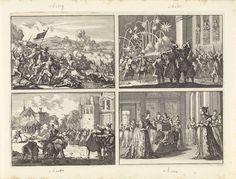 Caspar Luyken | Overwinning der Zweden op het leger van de keizer bij Wittstock, 1636 / Koning Ladislas VI van Polen raakt gewond terwijl hij vanuit zijn paleis een vuurwerk aanschouwt, 1636 / Oproer te Lublin tijdens de begrafenis van een niet-katholiek, 1632 / Praagse vrouwen bieden koningin Elisabeth een wieg en kleren aan voor haar te verwachten kind, 1619, Caspar Luyken, 1698 | Onversneden blad met vier prenten.