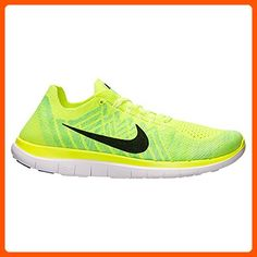 Nike Men's Free 4.0 Flyknit Volt/Black/White/Electric Green Mesh Running  Shoes
