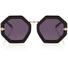 Karen Walker Moon Disco Sunglasses ($301) ❤ liked on Polyvore featuring accessories, eyewear, sunglasses, karen walker eyewear, retro sunglasses, octagon sunglasses, retro glasses and octagon glasses