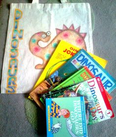 The beginnings of a dinosaur story sack. Lots of room for non fiction texts and dinosaur toys. Story Sack, Dinosaur Toys, Sacks, Nonfiction, Little Ones, Texts, Science, Activities, Room