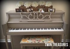 Chalk painted piano. I want to try this with our old piano.