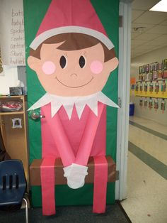 """My Elf on the Shelf door I made this year 2013. Saying above it reads...Have Your """"ELF"""" a MAGICAL Little Holiday !"""