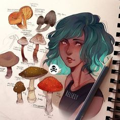 I've been severely lacking in inspiration these days so i just sat down and drew poisonous mushrooms, kinda like little studies because theyll be in an illustration soon. The girl is a new oc design i've been working on, drawing a headshot of her face to figure out her features before drawing the reference and illustration. The mushroom reference book i used was Dorling Kindersley Handbooks: Mushrooms which was a dream when i found it #mushrooms #digitalart #كلنا_رسامين