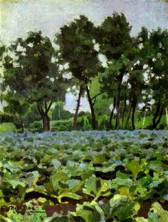 Cabbage Field with Willows (c1893) by Russian painter Victor Borisov-Musatov (1870-1905). Painted in Saratov, this oil on canvas is now in Tretyakov Gallery in Moscow.