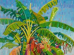Banana Trees On Blue - Rene Wiley - 36 x 46 inches by Rene' Wiley Gallery Unenhanced Giclée ~ 3 x 4