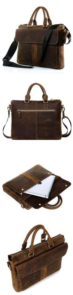 Men's Handmade Vintage Leather Briefcase / Leather Messenger Bag / MacBook Laptop Bag - from Neo Vintage Leather Bags Vintage Leather, Leather Men, Leather Bags, Brown Leather, Leather Briefcase, Leather Wallet, Messenger Bag Men, Lv Handbags, Michael Kors