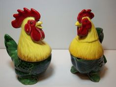 Vintage Hen and Rooster Salt Pepper Creamer by vintagekitchenhome