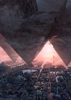 Pyramid by Te Hu. (via ArtStation - pyramid, Te Hu) More concept art here. Fantasy City, Fantasy Places, Fantasy Setting, Fantasy Landscape, Sci Fi Fantasy, Fantasy World, Arte Sci Fi, Sci Fi Art, Environment Concept Art