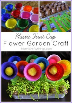 Use plastic fruit cups and an egg carton to create this pretty Flower Garden Craft. A perfect craft to go along with Planting a Rainbow by Lois Ehlert. http://iheartcraftythings.com