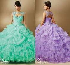 Hot Sale Lavender Quinceanera Dresses 2015 Ball Gown Sweetheart Lace-up Beaded Tiers Floor Length Formal Organza Prom Gowns