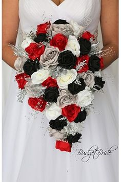Black, Red and Grey Theme Wedding flower brides bouquet<br> Red Silver Wedding, Grey Wedding Theme, Black And White Wedding Theme, Silver Wedding Decorations, Red And White Weddings, Red Bouquet Wedding, Red Wedding Flowers, Red Wedding Dresses, Wedding Colors
