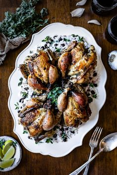 Cuban Roast Cornish Game Hens: Recipe for lime-garlic-fresh oregano marinated cornish game hens roasted in the oven beautifully served on cuban black bean rice. Roasted Cornish Hen, Cornish Hen Recipe, Cornish Game Hen, Cooking Cornish Hens, Gai Yang, Lime Recipes, Cuban Recipes, Healthy Recipes, Oven Recipes