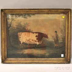 Giltwood Framed Hand-colored Print Portrait of a Bull with Driver | Sale Number 2642M, Lot Number 911 | Skinner Auctioneers