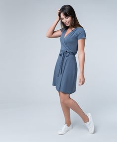 Free shipping and returns. Super soft organic cotton women's wrap dress. Fair Trade Certified cotton wrap dress. Your happiness, guaranteed Wear PACT.