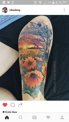 Sunflowers full color thigh tattoo by me Megan Jean Morris. Wallingford CT Sunflowers full color thigh tattoo by me Megan Jean Morris. Pretty Tattoos, Cute Tattoos, Leg Tattoos, Beautiful Tattoos, Body Art Tattoos, Sleeve Tattoos, Tatoos, Thigh Sleeve Tattoo, Calf Tattoo