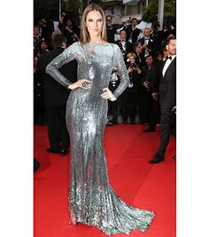Alessandra Ambrosio sleek hair and center part {cannes film festival}