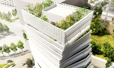 Construction kicks off on Kengo Kuma's twisting green-roofed Rolex tower in Texas