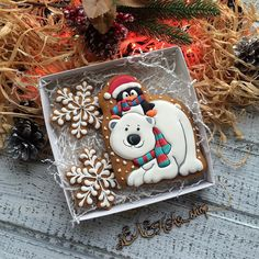 I like the idea of boxing up matched cookie sets as a gift Christmas Cookie Jars, Christmas Biscuits, Christmas Sugar Cookies, Noel Christmas, Holiday Cookies, Christmas Candy, Christmas Treats, Christmas Baking, Filled Cookies