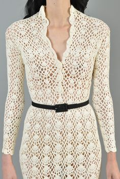 Hand Crocheted 1970s Plunging Neck Midi Dress   BUSTOWN MODERN