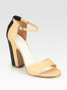 Maison Martin Margiela Trompe L'Oeil Leather Ankle Strap Sandals