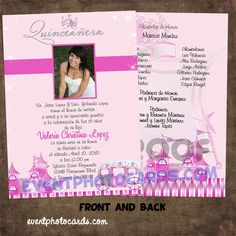 Princess beautiful quinceanera sweet 16 invitations Carriage  http://www.eventphotocards.com/en/beautiful-quinceanera-invitations-342