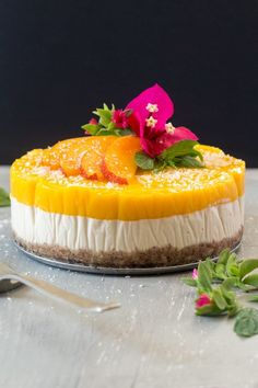 Vegan mango and ginger cheesecake - Lazy Cat Kitchen Raw Desserts, Healthy Desserts, Dessert Recipes, Cheesecake Recipes, Mango Recipes, Vegan Recipes, Cooking Recipes, Raw Cake, Vegan Cake
