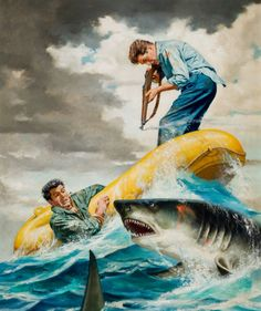 Shark Battle, men's adventure magazine cover, circa 1950s.