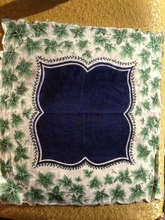 Vintage #Hankie ivy with navy blue center by Prairiegirltreasure, $5.00