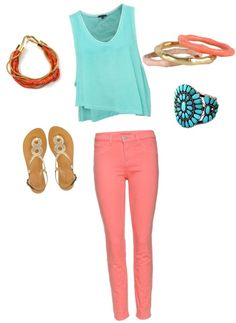 coral and teal,
