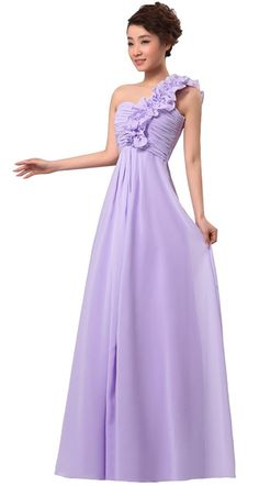 Sexy One Shoulder Chiffon Wedding Bridesmaid Prom Dress Long Evening Gowns ** Check out this great image  : Bridesmaid Dresses