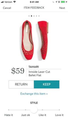 Like the idea of red shoes. Also like the perforation. Don't know if flats will work for me though.