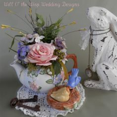 Whimsical Teapot Wedding centerpiece Garden by WillOtheWispWedding, $50.00