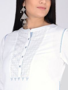 Ivory Hand Embroidered Linen Tunic Neck Designs For Suits, Dress Neck Designs, Blouse Designs, Kurta Patterns, Stitching Dresses, Kurta Neck Design, Kurta Designs Women, Indian Designer Outfits, Linen Tunic
