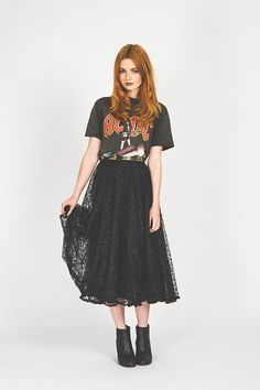 We Are Cow Vintage Ac Dc Shirt, We Are Cow Vintage Lace Midi Skirt, Missguided Snakeskin Ankle Boots