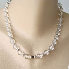 Givenchy Clear Silver Bead Necklace Designer Jewelry