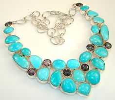 $157.25 Marvelous Ocean Blue Turquoise Sterling Silver necklace at www.SilverRushStyle.com #necklace #handmade #jewelry #silver #turquoise
