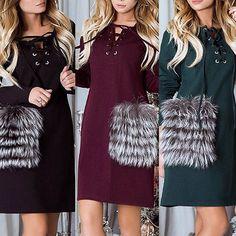 cc9efcf71c173 Fashion Lace Up Fox Velvet Pocket Casual Dress Dress Casual, Pockets,  Patchwork, Lace