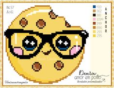 Pixel Art Templates, Cross Stitch Kitchen, Donia, C2c, Cross Stitch Charts, Emoticon, Cross Stitching, Eye Glasses, Smile