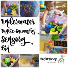 A underwater water-bead sensory bin can provide your little one with hours of ooglie - squooshy fun! Water Beads, Sensory Bins, Grandkids, Underwater, Activities For Kids, Articles, Posts, Fun, Blog