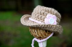 Chunky Crochet Cowgirl Hat Photography Prop  Size by GiggledPink, $22.00