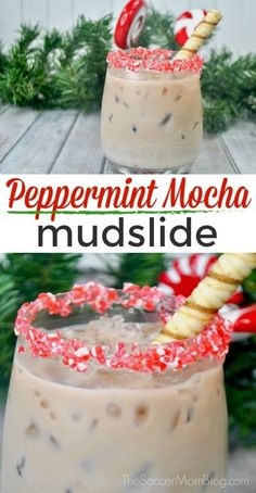 """If you love Starbucks Peppermint Mocha the you will LOVE this Peppermint Mocha Mudslide! The BEST Christmas cocktail recipe! Drinks Tipsy Peppermint Mocha - A """"Grown-Up"""" Starbucks Copycat Recipe Best Christmas Cocktails, Holiday Drinks, Christmas Desserts, Fun Drinks, Yummy Drinks, Holiday Recipes, Holiday Parties, Christmas Coffee, Beverages"""